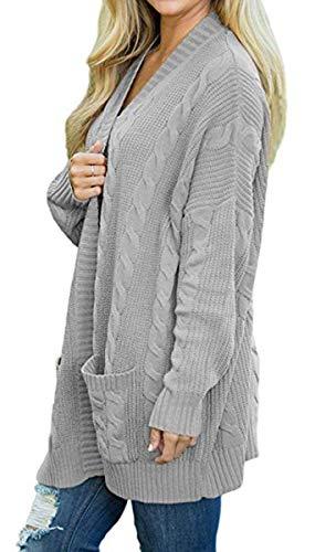 Autunno Primaverile Lunghe Lunga Cute Chic Casual Fashion Cappotto Maniche Con Donna A Eleganti Pullover Forcella Aperto Giacca Relaxed Grau Outerwear Maglia Tasche 84vw7zYq
