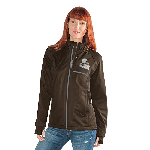 Cleveland Browns Soft Football - GIII For Her NFL Cleveland Browns Adult Women Cut Back Soft Shell Jacket, Small, Brown