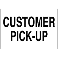 Imprint 360 AS-10010V Vinyl ADHESIVE Workplace Customer Pick Up Sign- 7 x 10, White / Black, PROUDLY Made in the USA, Great Resistance to Water and Most Chemicals