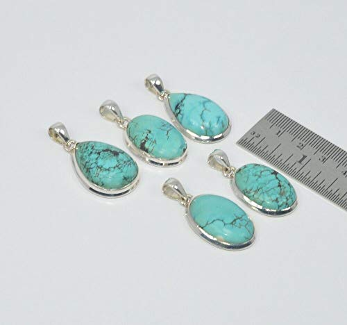 FidgetGear Wholesale 5PC 925 Solid Sterling Silver Turquoise Multi GEM Stone Pendant LOT F9 Show One Size