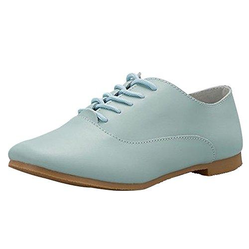 Cuir à Plate wealsex Ville Chaussures Bleu Derby Lacets Femme Casual Printemps Chaussure Eté fpxftqw