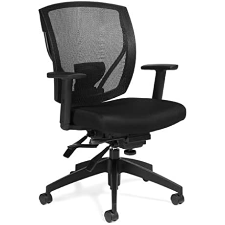 Atwater Mesh MidBack MultiAdjustment Task Chair Black Mesh Fabric Seat Black Mesh Back Black Frame