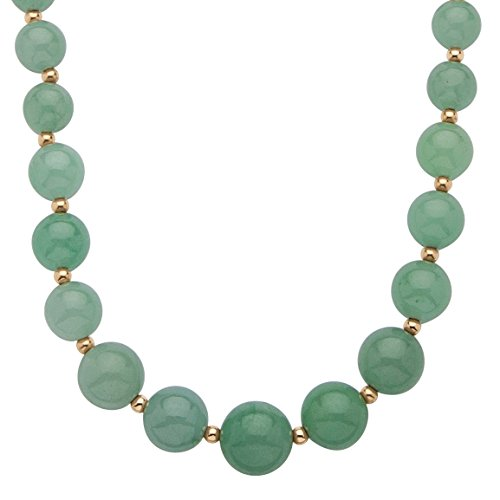 Genuine Green Jade 10k Yellow Gold Beaded Graduated Necklace 18