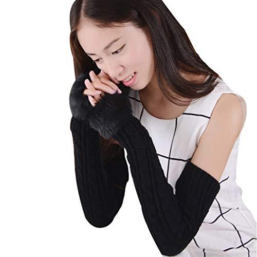 Women's Faux Fur Knit Fingerless Thumb Hole Long Gloves Mittens Winter Arm Warmer