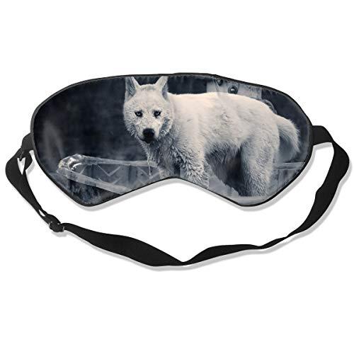 NCNET 100% Silk Sleep Mask for Women Men,Night Blindfold,Light Blocking,Eye Shade,Sleeping Aid,Adjustable Strap for Travel Nap Shift Work,Home Wolf in Bathroom