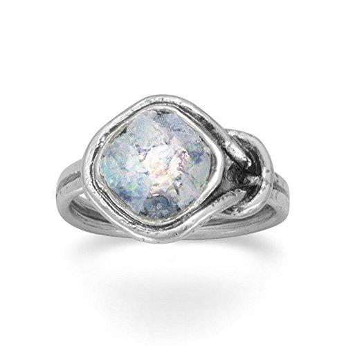 Oxidized Sterling Silver Knot Ring Soft Diamond Shape Roman Glass Roman Glass 13.5mm - Size 8 by JewelryWeb