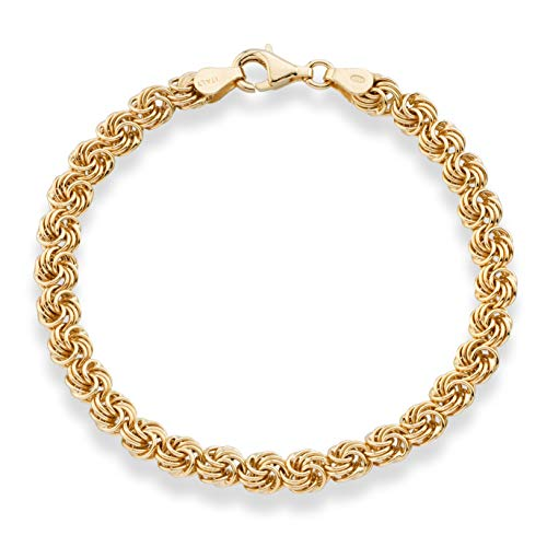MiaBella 18K Gold Over Sterling Silver Italian Love Knot Rosette Link Chain Bracelet Jewelry for Women 6.5