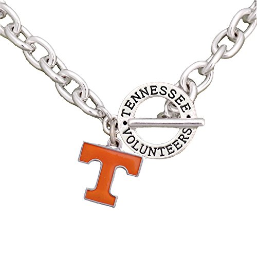 Sports Accessory Store Tennessee Volunteers Team Name Toggle Silver Necklace Orange Charm Jewelry UT - Enamel Tennessee Volunteers Charm