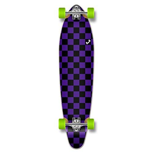 Yocaher Blank/Checker Complete Kicktail Skateboards Longboard Cruiser Black Widow Premium 80A Grip Tape Aluminum Truck ABEC7 Bearing 70mm Skateboard Wheels (Complete - Kicktail - 14 - Checker ()
