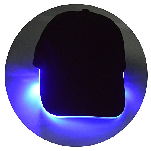 Led Cap (Jade Men's Cotton Blue LED Lighted Cap Powercap Baseball Cap Hat LED Flashlight Cap )