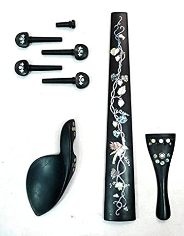 Solid Ebony with Hand Craft Mother of Pearl Inlay 4/4 Viola fingerboard, tailpiece,chinrest, peg,end pin,1 set,VIA (Viola, - Ebony Rosewood Fretboard