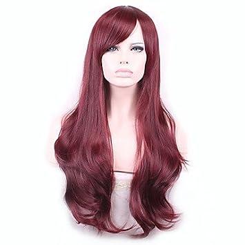 GSP-onda larga cosplay peluca roja pelo sintético , fuxia