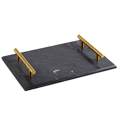 FREELOVE Marble Stone Serving Tray, Rectangle for Kitchen Home Bathroom Decor Organizer (Black Gold, 8'' by 11'') ()