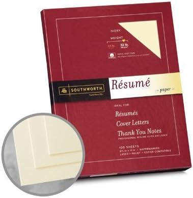 Cotton Fiber 24 lb 8-1//2 x 11 Inches 100 per Box Southworth Resume Paper