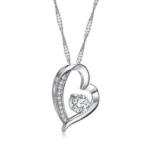 Jade Pendant Purple Beautiful (TOPUNDER Fashion Beautiful Womens Heart Pendant Necklace Jewelry Chain by)
