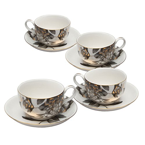 Grace Teaware Black Peony 9-Ounce Porcelain Tea/Coffee Cup and Saucer, Set of 4 (Peony Saucer Tea)