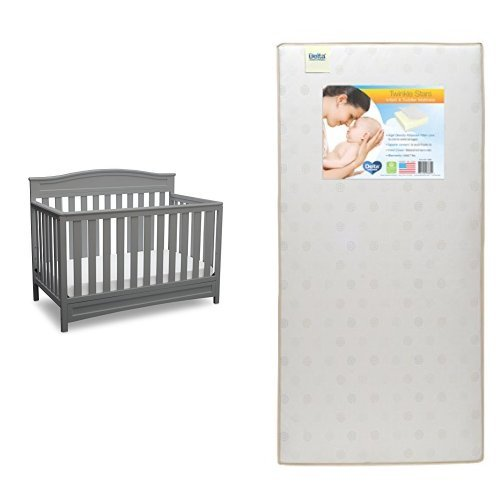 Crib Mattress Height (Delta Children Emery 4-in-1 Crib, Grey with Twinkle Stars Crib & Toddler Mattress)