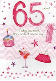 Second Nature Female 65Th 65 Birthday Cards Poetry In Motion Glitter Greeting Card Nice Verse