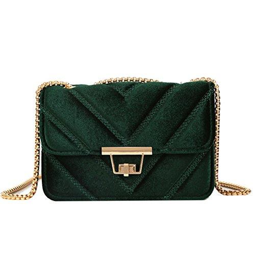 Bolso de terciopelo de las mujeres en forma de V Diamante bolso del mensajero Bolso de la vuelta Bolso de las señoras de la correa Bolsos de hombro acolchados de la cadena del ante Black L21cmW8cmH14c Green