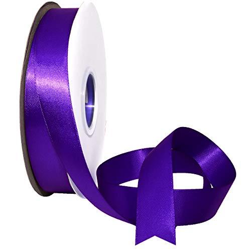 (Morex Ribbon 088 Double Face Satin Ribbon, 7/8 Inch by 50 Yards, Regal Purple)