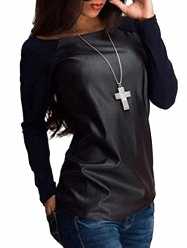 Patchwork Faux Leather (xtsrkbg Womens Fashion Crew-Neck Faux Leather Patchwork Top T-Shirts Black M)