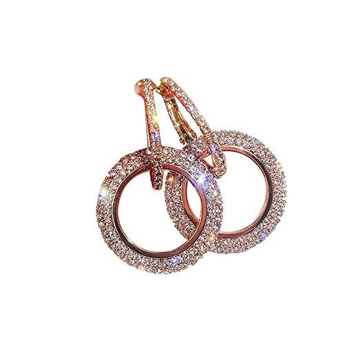 - Round Diamond Earrings,Quaanti 2018 Luxury Earrings Women Silver Gold Rosegold Glitter Stud Round Shape Rhinestone Inlaid Tassel Beads (Rose Gold)