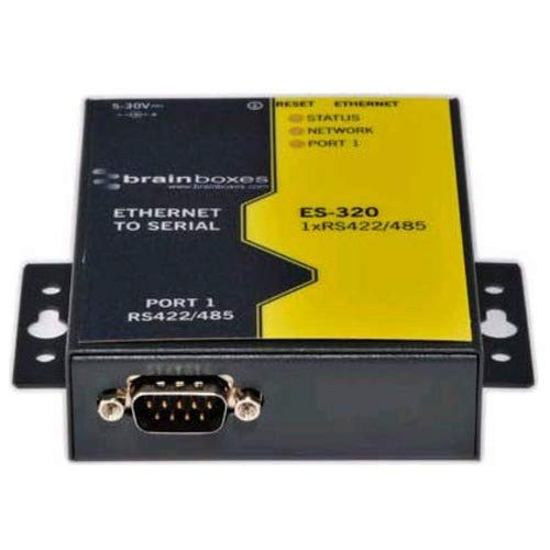 BRAINBOXES ES-320 Brainboxes 1 Port RS422/485 Ethernet to Serial Adapter, Ethernet to Serial Device Server, 1 M baud Data Rate, Serial Port Tunnelling