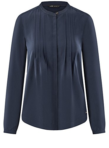 de res Collection Poitrine Surpiq Chemisier en 7901n Bleu Viscose oodji Femme avec nZ870CCFqw