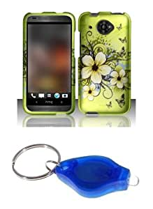 Green Hibiscus Butterfly Flower Design Shield Case + Atom LED Keychain Light for HTC Desire 601