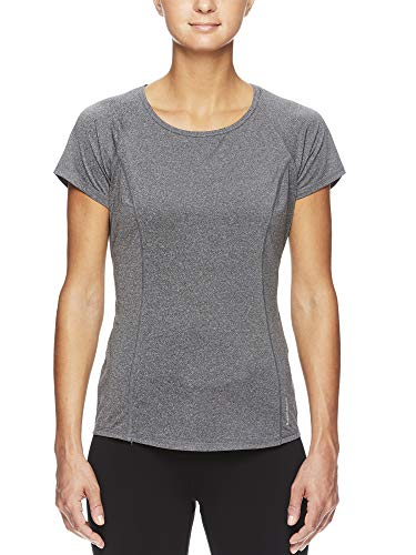- HEAD Women's Prime Raglan Short Sleeve Workout T-Shirt - Marled Performance Crew Neck Activewear Top - Prime Charcoal Heather, Small