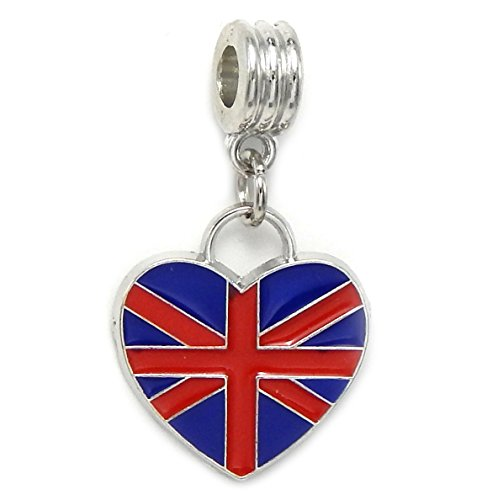 GemStorm Silver Plated Dangling 'British Flag' For European Snake Chain Bracelets - Silver Union Jack