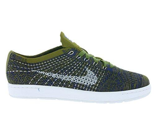 Nike Tennis Classic Ultra Flyknit Moda Donna Sneaker 833860 Oliva Flak / Bianco Profondo Blu Royal Nero