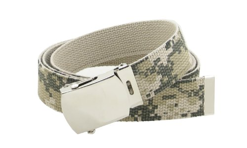 Camouflage Canvas Web Belt Military Style Chrome Buckle and Tip 50