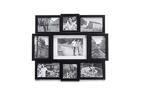 Malden 9-Opening Collage Picture Frame, Made To Display One (1) 5'' x 7'', Two (2) 4'' x 4'' and Six (6) 4'' x 6'' Pictures, Black by Malden