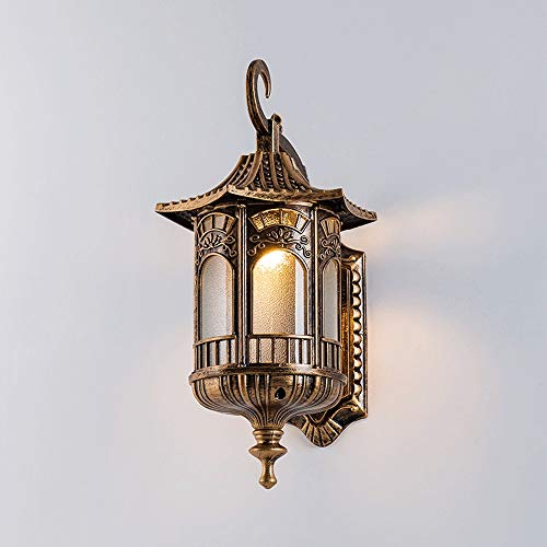 Ganeep Retro Outdoor Waterproof Wall Lamp Die-cast Aluminum Frosted Glass Wall Light Vintage E27 Single Head Wall Sconce for Balcony Patio Front Door Garden Exterior Wall Villa Aisle