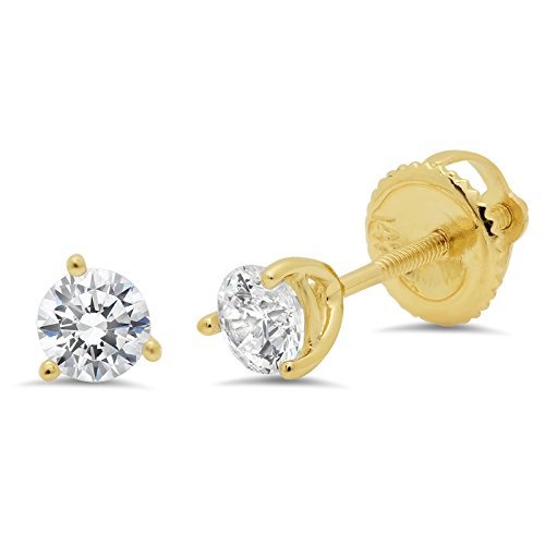 0.50 ct Brilliant Round Cut Solitaire Highest Quality Moissanite Anniversary gift 3-prong Stud Martini Earrings Real Solid 14k Yellow Gold Screw - 3 Studs Prong Martini