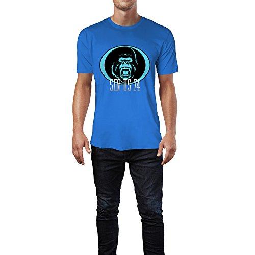 SINUS ART® Wütender Affenkopf Herren T-Shirts in Blau Fun Shirt mit tollen Aufdruck
