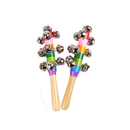 iDeep Hand Bells, 2pcs Rainbow Jingle Bell Wood Rhythm Bells for Kids Shaker Rattle Hand Bell Musical Instrument Baby Hand Shaker Bell Music Toy for Baby ()