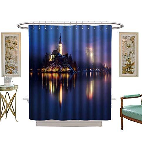 シャワーカーテン 3D デジタルプリント 霧 夕暮れの湖 スロベニア バスルームセット フック付き W48 x L72 inch B07KB69RQ8 カラー01 W48 x L72 inch