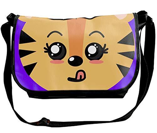 - Cute Wild Animal Face With Expression Custom Nylon SingleShoulder SlantSlingBag Cross-body Bag for Men & Women