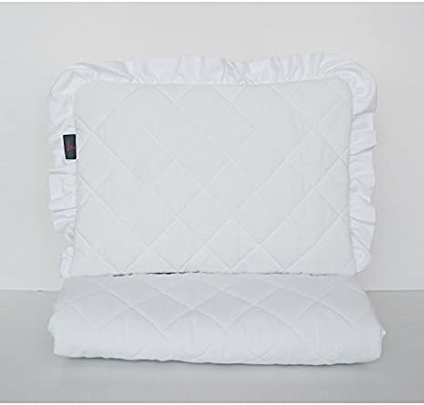 Pram Crib New White /& Grey Small Baby Bedding Set fit Mini Cot Space Save Cot