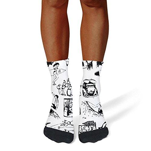 XIdan-die Mens Athletic Crew Socks surf silhouette black Moisture Wicking Casual Socks
