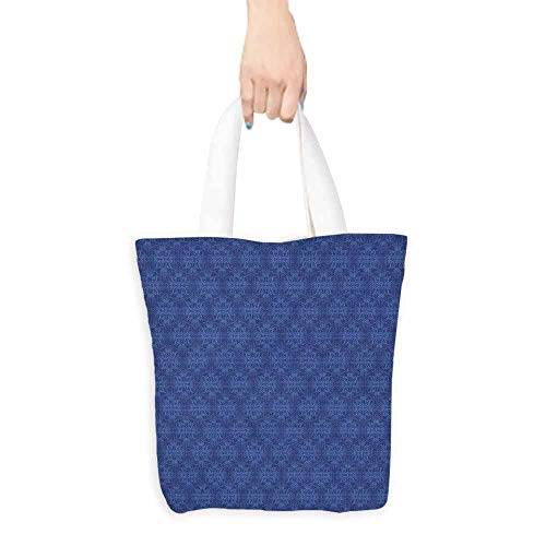 (Navy Blue Tote Bag Antique Baroque Damask Inspired Motifs Abstract Flowers Ornamental Victorian Garden Eco-Friendly 16.5