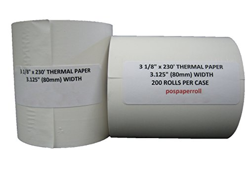 200 rolls- 3 1/8'' x 230' Thermal Paper by POS Paper