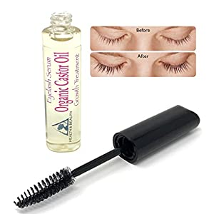 Castor Oil Organic Stimulate Eyelash Growth Serum Grows Longer Thicker Eyelashes & Beautiful Eyebrows Cold Pressed 100% Pure Hexane Free Brow Treatment in Mascara Tube