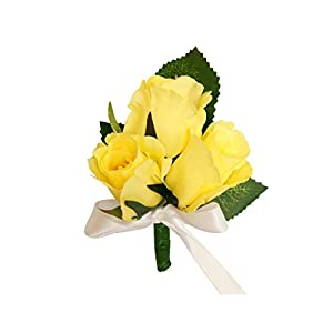 Pin corsage/Boutonniere(XLPC001-YL)-Beautiful Quality Keepsake corsage/Boutonniere (Pin included) (Yellow) 21