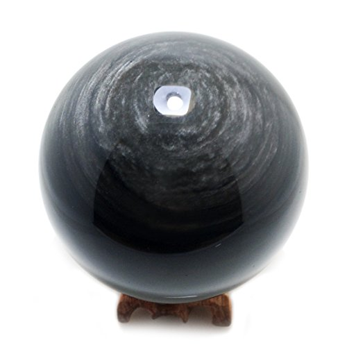 """60mm / 2.4"""" Silver Obsidian Crystal Sphere, Rare & Unique Scrying Balls for Scrying, Decoration, Healing, Meditation, Feng Shui, Deco, Hand-made (Sheen Obsidian)"""