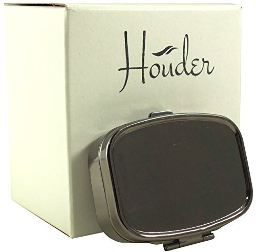 Gunmetal Gray Pill Box by Houder - Decorative Pill Case with Gift Box - Carry Your Meds in Style (Rectangular)