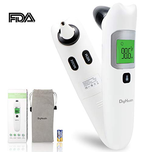 DigHealth Baby Thermometer, Forehead and Ear Thermometer with Fever Alarm and Memory Function,4 Modes Digital Infrared Thermometer for Baby, Children, Adults, Surface and Room