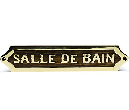 Le Bain Plaque - Nagina International Salle De Bain (Bathroom) | French Wooden Handcrafted Polished Brass Plaque | Home Decor Door Sign Plaque | Home Wall Decor Gifts
